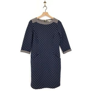 Boden Justine Jacquard Dress Size 8R Navy Blue